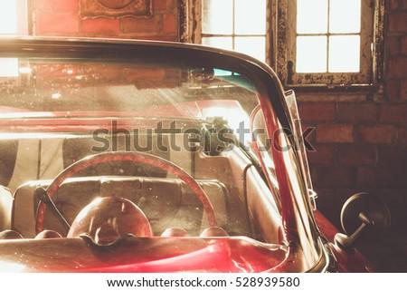 retro car fragment with sunlight #528939580