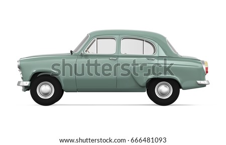 retro car isolated. 3d rendering