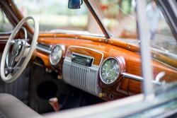 Retro car, retro torpedo car, vintage steering wheel, speedometer