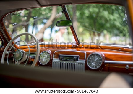Retro car, retro torpedo car, vintage steering wheel, speedometer #601469843