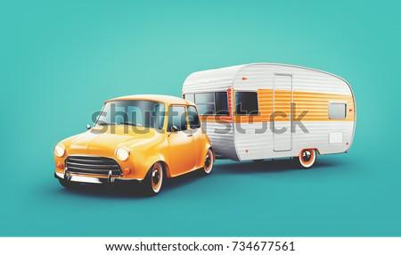 retro car with white trailer....