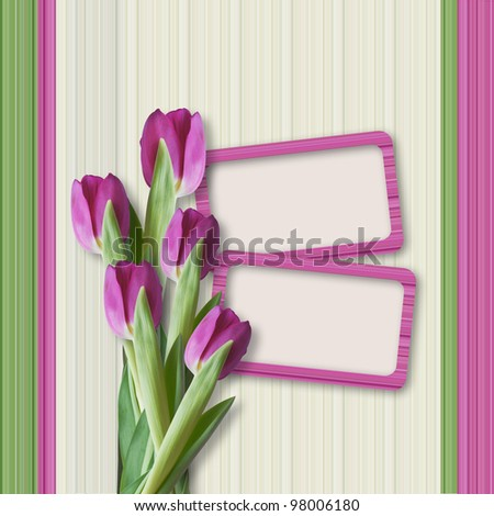 Retro card with  tulips for congratulations and invitations