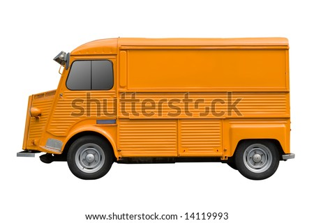 Retro cargo van isolated on white background