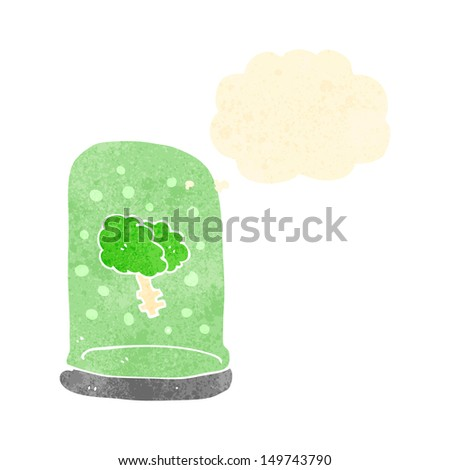 retro cartoon brain in jar with thought bubble