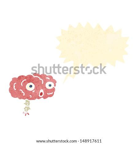 retro cartoon brain with speech bubble