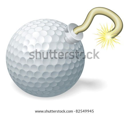 Retro cartoon golf ball cherry bomb with lit fuse burning down. Concept for countdown to big golfing event or crisis.
