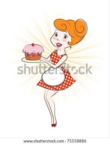 retro cartoon woman holding a cake