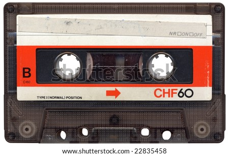 Retro cassette tape from the 80s. All beaten up, faded label colours and dusty.