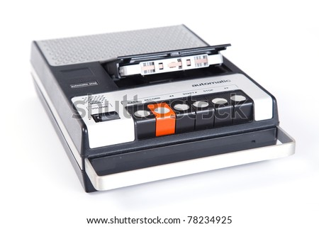 Retro Cassette Tape player and recorder isolated on a white background.