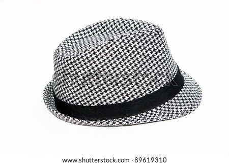 Retro Checkered Fedora Hat isolated on a white background