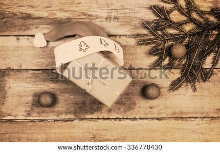 Retro christmas decoration on wood board #336778430