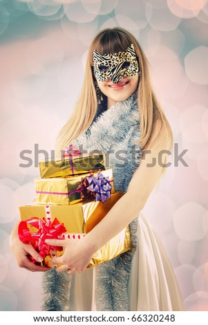 retro christmas masquerade girl with cat mask