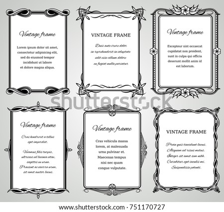 Retro classic borders and calligraphic old wedding photo frames collection. Frame classic for wedding or menu, illustration of template ornament frame #751170727