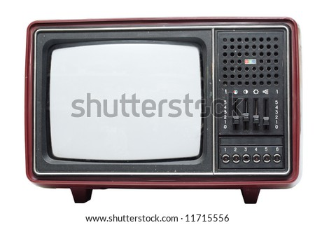Retro color TV set on white background