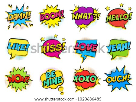 Retro colorful comic speech bubbles set with halftone shadows on white background. Expression text HELLO, YEAH, LOVE, LIKE, WOW, OUCH, DAMN, BOOM, XOXO, WHAT etc. Illustration, pop art style. #1020686485