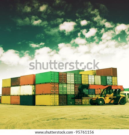 Retro colors of the container terminal