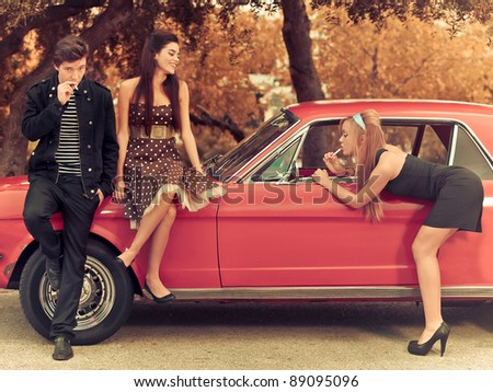 retro cool teenagers - stock photo