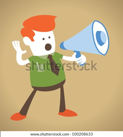 Retro Corporate Guy holding a megaphone