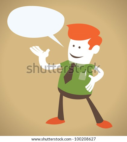 Retro Corporate Guy with Speech Bubble