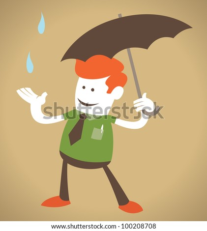 Retro Corporate Guy with Umbrella