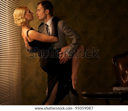 Retro couple dancing. - stock photo