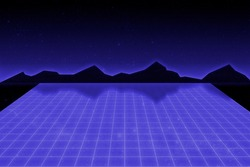 Retro cyberpunk style 1980's sci-fi background with bluelaser grid, blue sky and black mountains. Vintage computer game design template