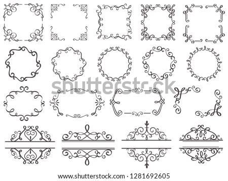 Retro decoration frames. Vintage filigree swirls border, elegant decorative frame ornamental and flourish antique label ornate divider, classic accents ornaments elements  isolated icon set