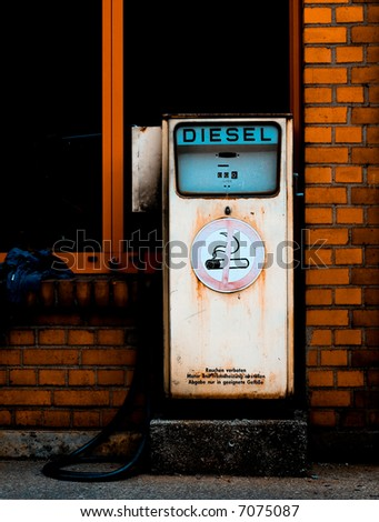 Retro diesel gas station. Environment conservation concept