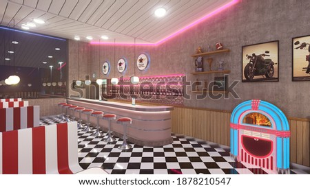 Retro diner interior with a tile floor, neon illumination, jukebox and art deco style bar stools. 3d illustration. Сток-фото ©