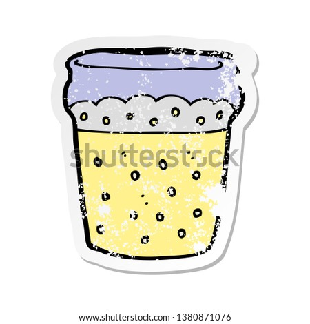 retro distressed sticker of a cartoon glass of beer