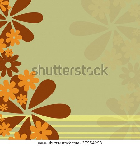 Retro earth tone flower background with stripes