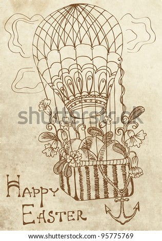 retro Easter card with air Balloon, illustration
