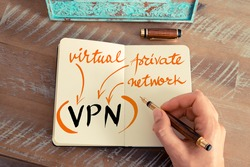 Retro effect and toned image of a woman hand writing a note with a fountain pen on a notebook. Handwritten Business Acronym VPN VIRTUAL PRIVATE NETWORK, motivation concept