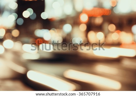 Retro Effect Of City Traffic Lights Background With Blurred Lights #365707916