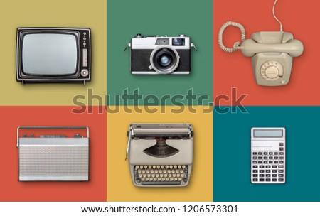 retro eighties electronics items background #1206573301