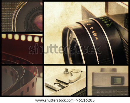 Retro film camera collage. - stock photo