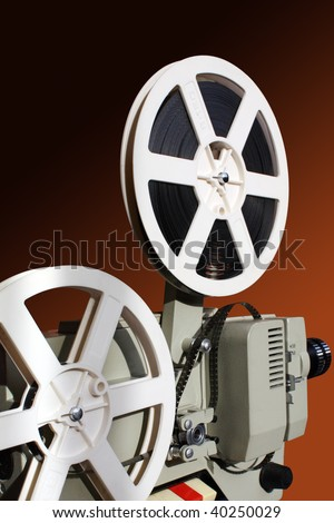 Retro film projector and reels