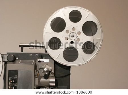 Retro Film Projector front from side with metal reel