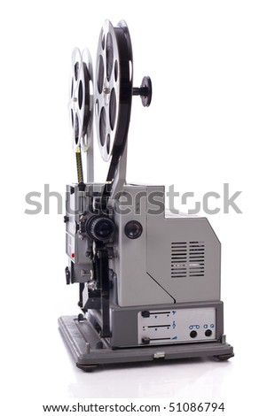 retro film projector isolated on white background