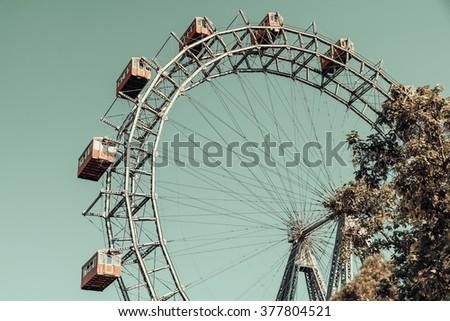 Retro Filter Of Fun Park Ferris Wheel In Prater Park Of Vienna