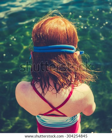 Retro Filtered Girl About To Dive Into A Lake