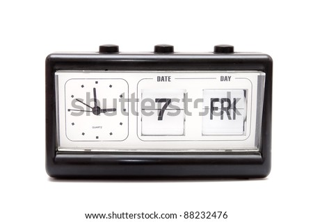 Retro flipping clock isolated - stock photo
