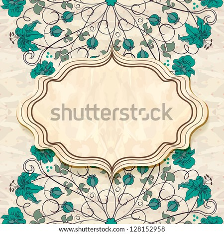 Retro  frame with floral pattern.