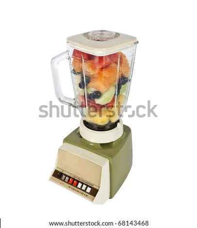 Retro fruit and mellon filled blender ready to rip.