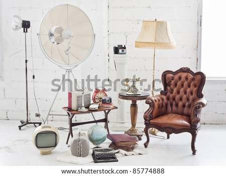 retro furniture and decoration in white room