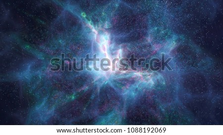 Retro futuristic background 1980s style. Digital landscape in a cyber world. Retro Wave music album cover template with sun, space. Dark night sky with many stars.. Vintage. Depht of field, blur