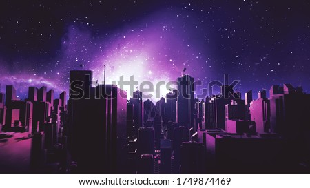 Retro futuristic city flythrough background. 80s sci-fi synthwave landscape in space with stars. Vaporwave stylized VJ 3D illustration for EDM music video, videogame intro. 4K motion design retrowave