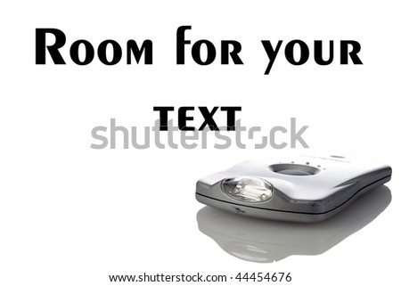 retro futuristic flashlight isolated on white with room for your text