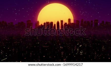 Retro futuristic sci-fi night city. 80s synthwave VJ or cyberpunk background with neon lights, sun and stars. 4K stylized vintage vaporwave landscape 3D illustration for videogame and music video