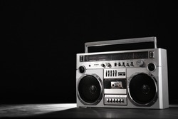 Retro ghetto blaster isolated on black background with clipping path